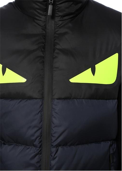 Siyah Neın Sarı Dik Yaka Canavar Gözlü Puff Yelek