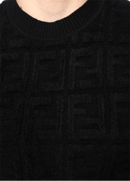 Siyah Logo Kabartmalı Dokulu Yün Kazak