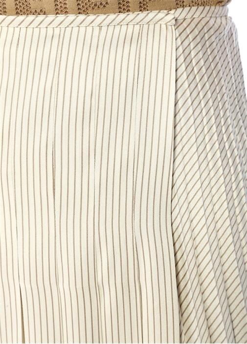 Ekru Çizgili Asimetrik Pileli Midi İpekSaten Etek