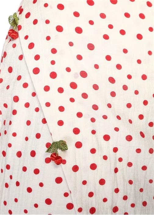 Lily Kırmızı Beyaz Puantiyeli Midi PlajElbisesi