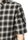 Siyah Küçük Yaka Ekoseli Kısa Kollu Gömlek