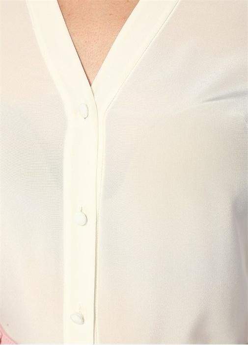 Ekru V Yaka Bağcıklı İpek Gömlek