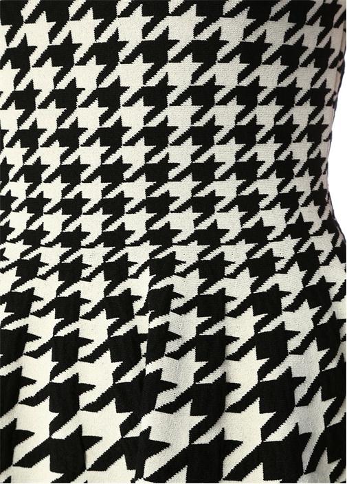 Siyah Beyaz Kazayağı Desenli Mini Yün Elbise