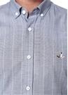 Slim Fit Gri Düğmeli Yaka Çizgili Gömlek