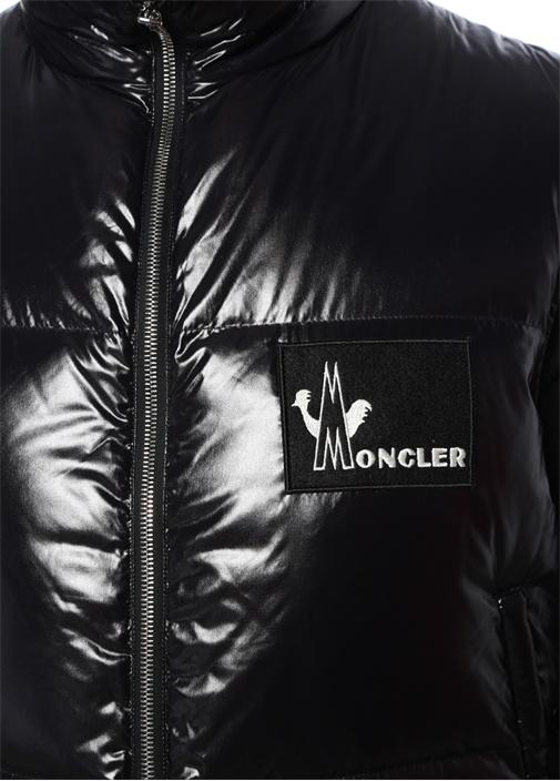 Banker Siyah Dik Yaka Logo İşlemeli Puff Yelek