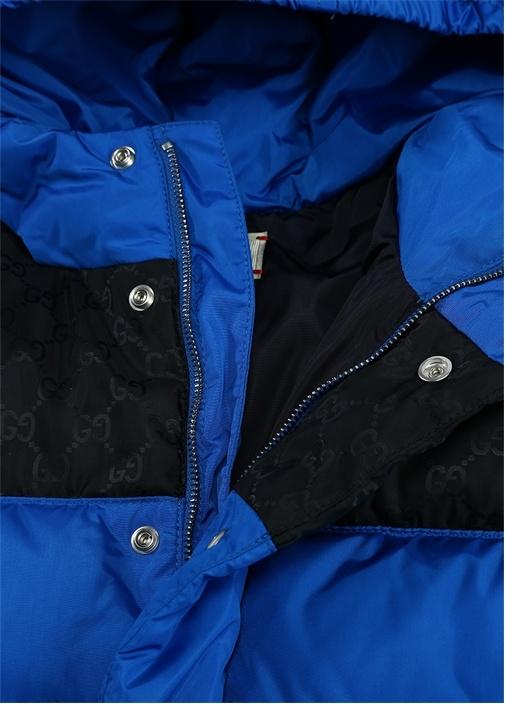 Siyah Mavi Kapüşonlu Logo Baskılı ErkekÇocuk Mont