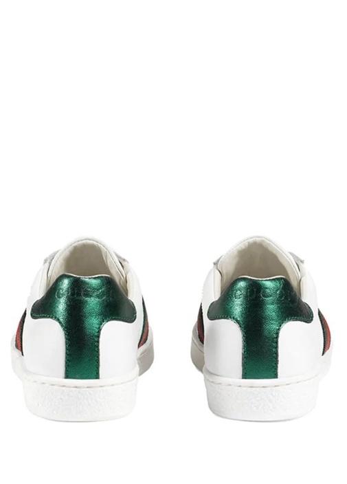 Beyaz Logolu Çocuk Deri Sneaker