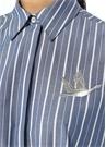 Mavi Çizgili Kuş Nakışlı Mini Poplin Gömlek Elbise