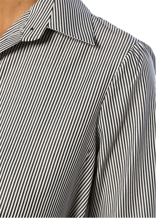 Siyah Beyaz Çizgili Kuşaklı Midi GömlekElbise