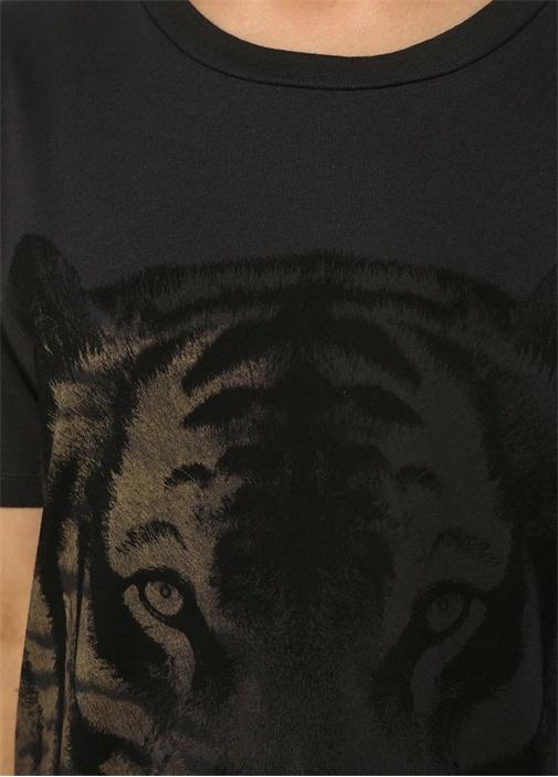 Tiger Cori Oversize Antrasit Baskılı T-shirt