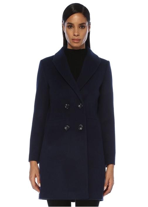 Lacivert Kırlangıç Yaka Kruvaze Yün Palto
