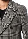 Drop 7 Siyah Beyaz Kelebek Yaka Desenli Yün Palto