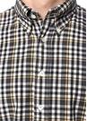 Siyah Sarı Düğmeli Yaka Ekose Desenli Gömlek