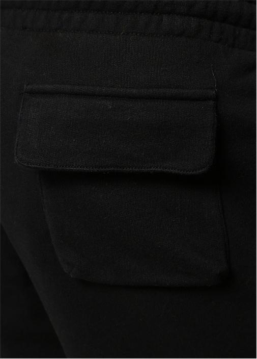 Siyah Beli Kordonlu Kabartmalı Logolu Eşofman Altı