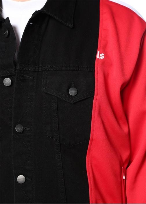Siyah Kırmızı Garnili Asimetrik Kesim Jean Mont