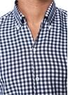 Lacivert Beyaz Düğmeli Yaka Pötikareli Gömlek