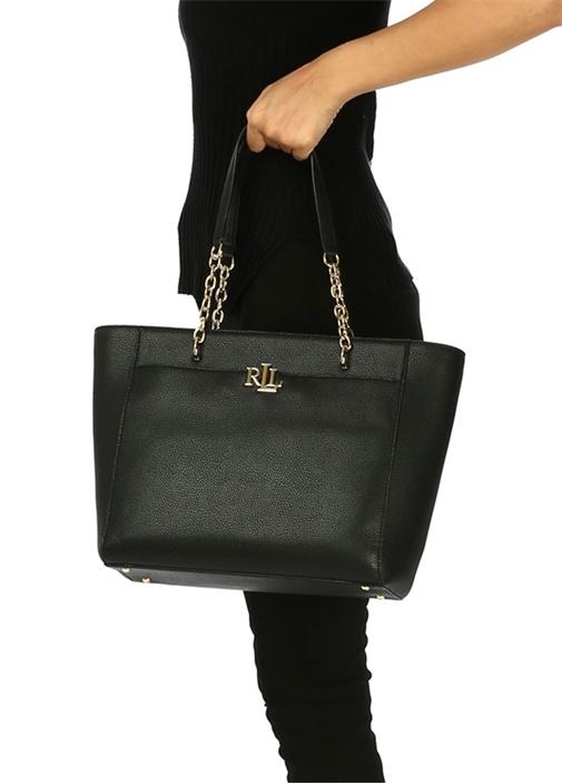 Siyah Gold Logolu Deri Alışveriş Çantası
