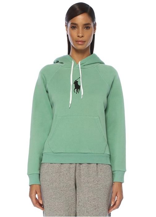 Shrunken Fit Yeşil Kapüşonlu Logolu Sweatshirt