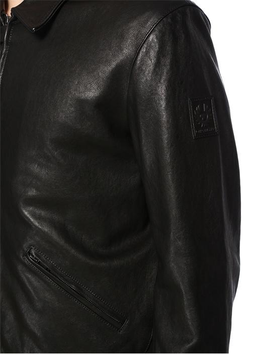 Siyah İngiliz Yaka Logo Patchli Deri Mont