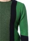 Yeşil Lacivert Şerit Detaylı Yün Kazak