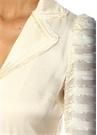 Juliska Ekru Şeritli Beli Kuşaklı Midi Elbise