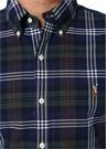 Slim Fit Lacivert Düğmeli Yaka Ekoseli Gömlek
