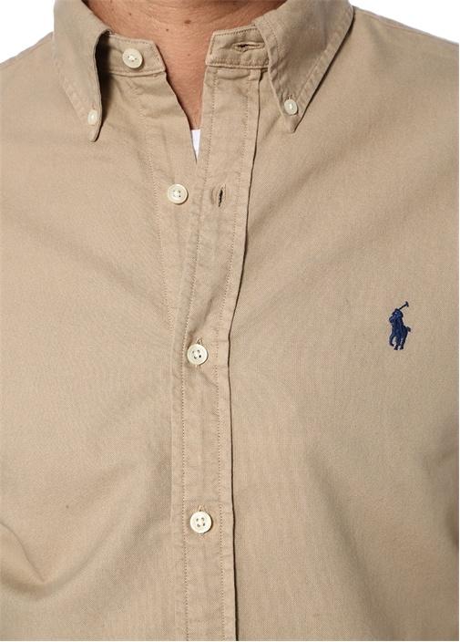 Slim Fit Bej Düğmeli Yaka Gömlek