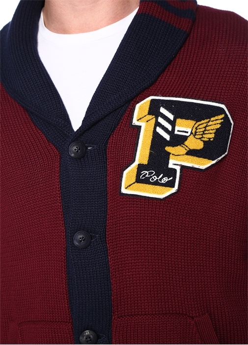 Bordo Şal Yaka Logolu Patchli Örgü Dokulu Hırka
