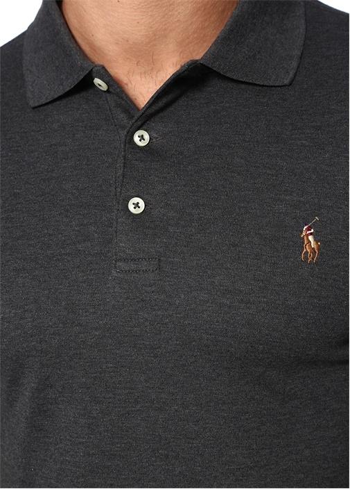 Slim Fit Antrasit Polo Yaka Logolu T-shirt