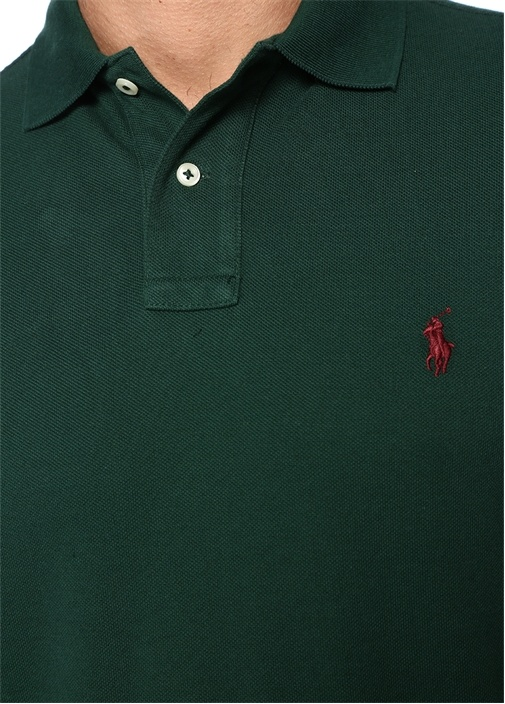 Custom Slim Fit Haki Polo Yaka Dokulu Sweatshirt