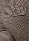 Kahverengi Bej Mikro Kazayağı Desenli Yün Pantolon