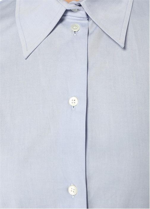 Mavi Pötikareli Garnili Mini Gömlek Elbise