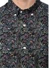 Comfort Fit Siyah Polo Yaka Etnik Desenli Gömlek