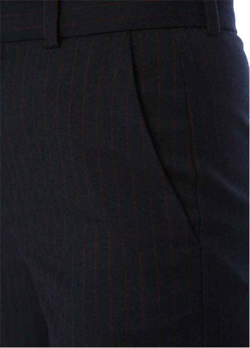 Lacivert Kırmızı Çizgi Desenli Boru Paça Pantolon