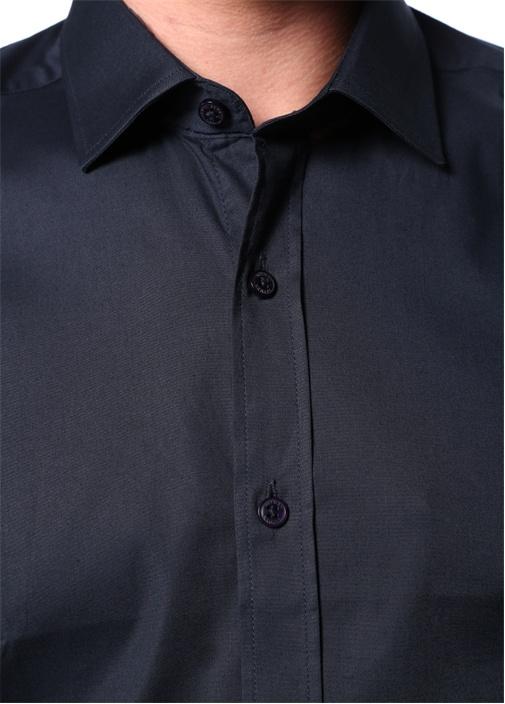 Slim Fit Lacivert Modern Yaka Gömlek