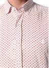Slim Fit Kırmızı Beyaz Mikro Desenli Gömlek
