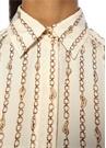 Ekru Zincir Desen Kemerli Midi İpek Gömlek Elbise