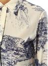 Mavi Beyaz Baskılı İpek Gömlek