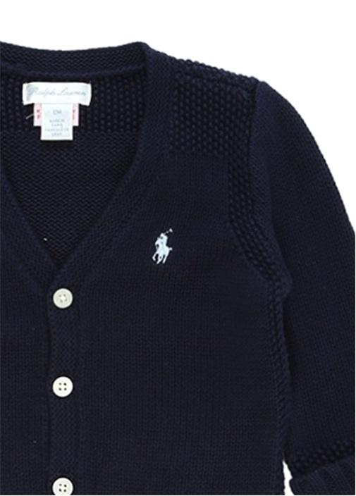 Lacivert V Yaka Logolu Erkek Bebek Hırka
