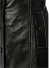 Siyah Kontrast Dikişli Deri Mini Elbise
