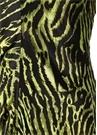 Yeşil Siyah Desenli Midi İpek Elbise