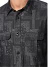 Siyah Küçük Yaka Etnik Desenli Cepli Gömlek