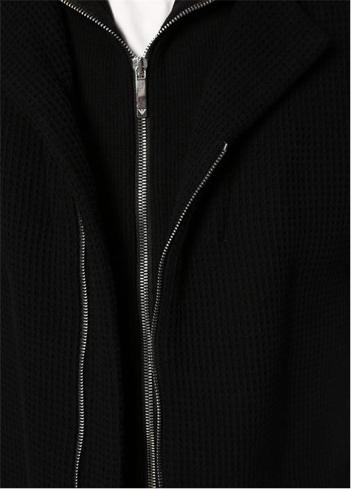 Siyah İç Yaka Detaylı Pike Dokulu Ceket