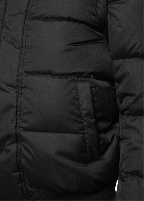 Siyah Kapüşonlu İç Yelek Detaylı Puff Mont