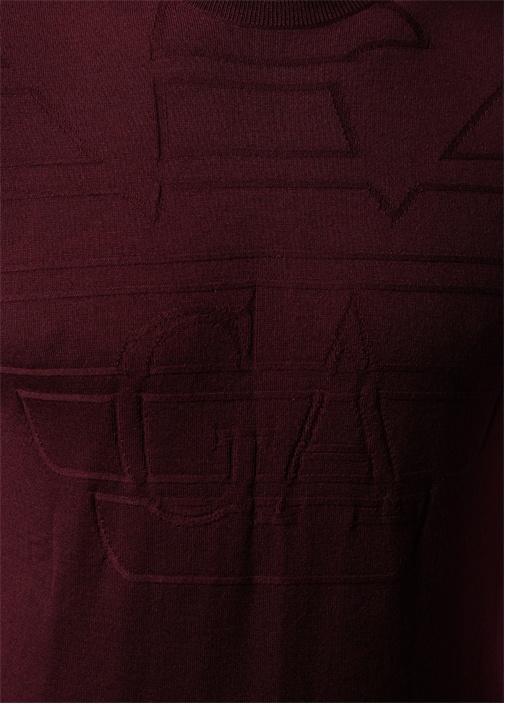 Bordo Kabartmalı Logolu Şerit Detaylı Yün Kazak