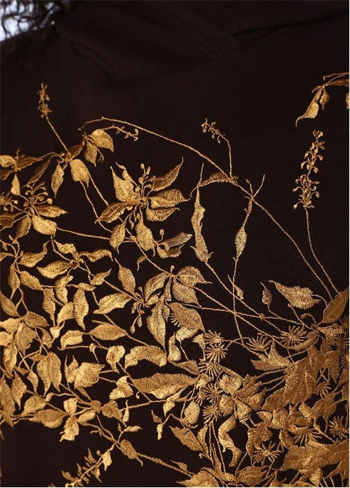 Harlee Bordo Kapüşonlu Çiçek Nakışlı Sweatshirt