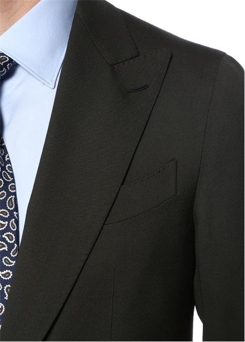 Drop 8 Haki Kırlangıç Yaka Yün Takım Elbise