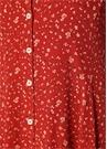 Kırmızı V Yaka Çiçekli Kolu Bağcıklı Mini Elbise