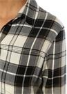 Siyah Beyaz Simli Ekoseli Mini Gömlek Elbise