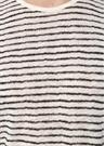 Siyah Beyaz Bisiklet Yaka Çizgili KetenT-shirt
